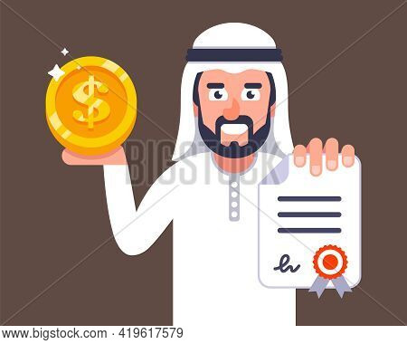 Arab Businessman Offers To Conclude A Contract. Job Invitation To Dubai. Flat Vector Character Illus