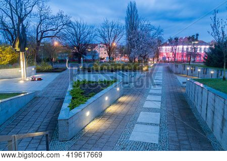 John Paul Ii Square In City Center Of Pruszcz Gdanski At 3 May Constitution Day In 2021.