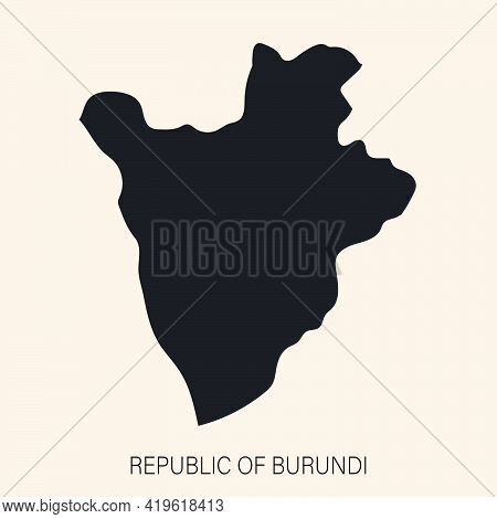 Highly Detailed Burundi Map With Borders Isolated On Background. Simple Flat Icon Illustration For W