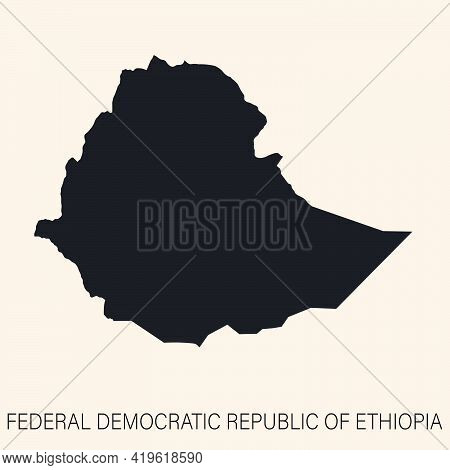 Highly Detailed Ethiopia With Borders Isolated On Background. Simple Flat Icon Illustration For Web