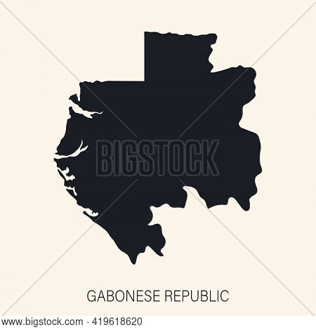 Highly Detailed Gabon Map With Borders Isolated On Background. Simple Flat Icon Illustration For Web