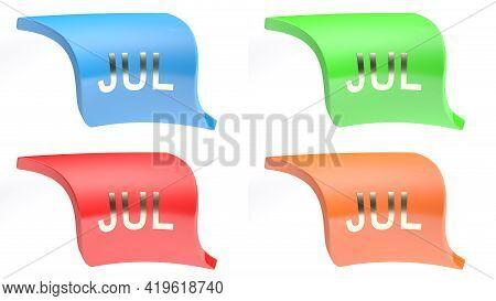 Jul For July Colorful Icon Set - 3d Rendering Illustration