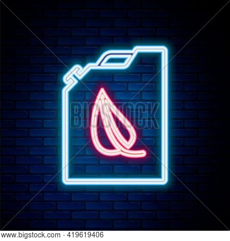 Glowing Neon Line Bio Fuel Canister Icon Isolated On Brick Wall Background. Eco Bio And Barrel. Gree