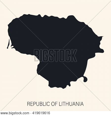 Highly Detailed Republic Of Lithuania Map With Borders Isolated On Background. Flat Style