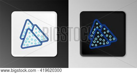 Line Nachos Icon Isolated On Grey Background. Tortilla Chips Or Nachos Tortillas. Traditional Mexica