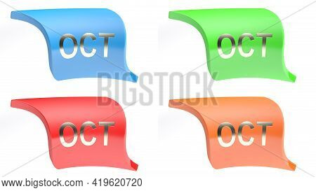 Oct For October Colorful Icon Set - 3d Rendering Illustration