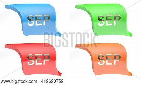 Sep For September Colorful Icon Set - 3d Rendering Illustration