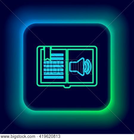 Glowing Neon Line Audio Book Icon Isolated On Black Background. Audio Guide Sign. Online Learning Co