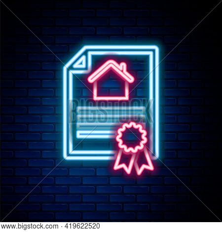 Glowing Neon Line House Contract Icon Isolated On Brick Wall Background. Contract Creation Service,