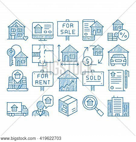 Building House Sale Sketch Icon Vector. Hand Drawn Blue Doodle Line Art Building Sale And Rent Table
