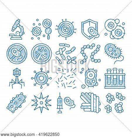 Pathogen Elements Sketch Icon Vector. Hand Drawn Blue Doodle Line Art Pathogen Bacteria Microorganis