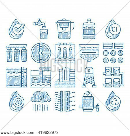 Water Treatment Items Sketch Icon Vector. Hand Drawn Blue Doodle Line Art Filter And Cleaning System