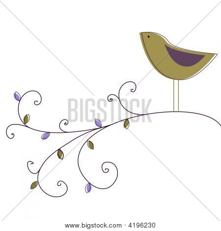 Cute bird singing on a tree branch in the garden poster