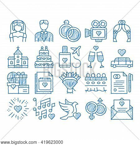 Wedding Sketch Icon Vector. Hand Drawn Blue Doodle Line Art Bride And Groom, Rings And Limousine Wed