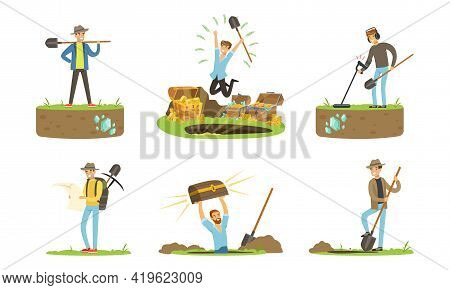 Man Treasure Hunter With Metal Detector And Shovel Digging Hole In Soil Extracting Gold And Gemstone