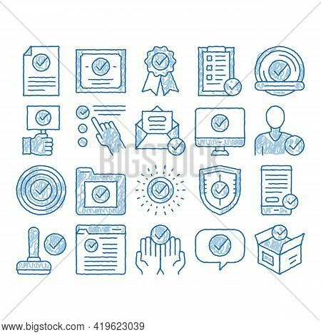 Approved Elements Sketch Icon Vector. Hand Drawn Blue Doodle Line Art Approved Sings On Document Fil