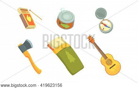 Camping And Expedition Equipment With Box Of Matches And Axe Vector Set