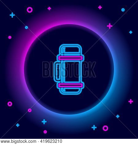 Glowing Neon Line Thermos Container Icon Isolated On Black Background. Thermo Flask Icon. Camping An