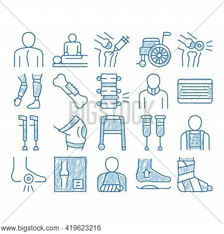 Orthopedic Elements Sketch Icon Vector. Hand Drawn Blue Doodle Line Art Orthopedic And Trauma Rehabi