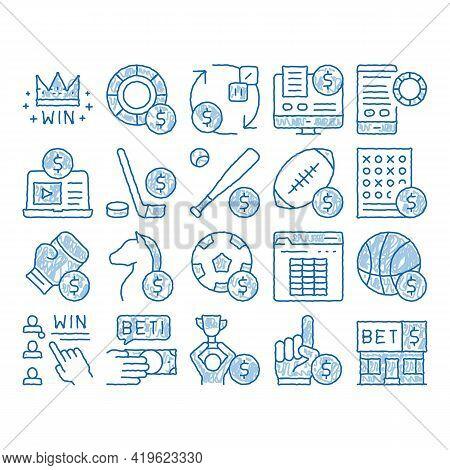Betting And Gambling Sketch Icon Vector. Hand Drawn Blue Doodle Line Art Basketball And Baseball, Ho