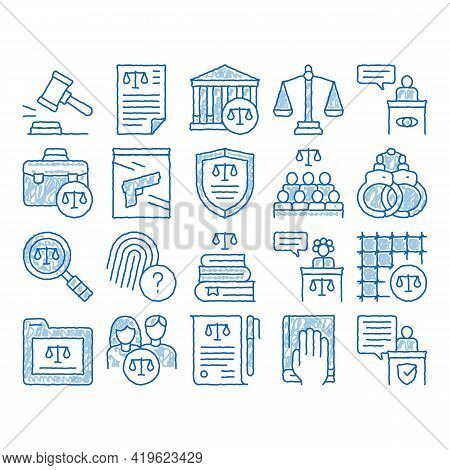 Law And Judgement Sketch Icon Vector. Hand Drawn Blue Doodle Line Art Courthouse And Judge, Gun And