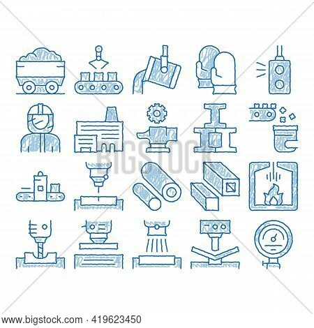Metallurgical Elements Sketch Icon Vector. Hand Drawn Blue Doodle Line Art Factory Furnace, Metal Me