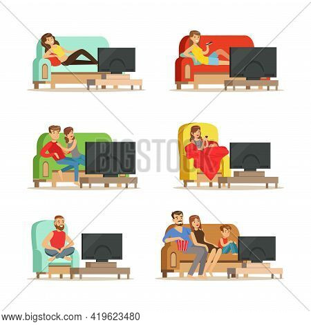 People Characters Lounging On Sofa Or In Armchair Watching Tv Vector Illustration Set