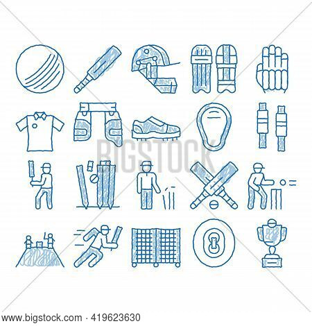 Cricket Game Elements Sketch Icon Vector. Hand Drawn Blue Doodle Line Art Cricket Ball And Bat, T-sh