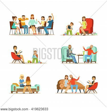 People Characters Talking To Psychologist Engaged In Counseling Psychology Vector Illustration Set