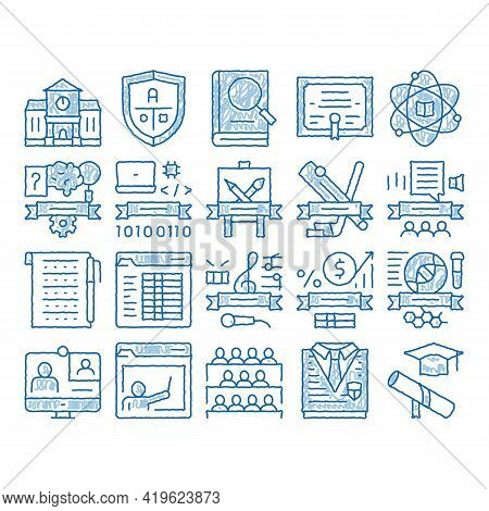 Academy Educational Sketch Icon Vector. Hand Drawn Blue Doodle Line Art Academy Building And Uniform