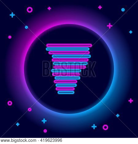 Glowing Neon Line Tornado Icon Isolated On Black Background. Cyclone, Whirlwind, Storm Funnel, Hurri