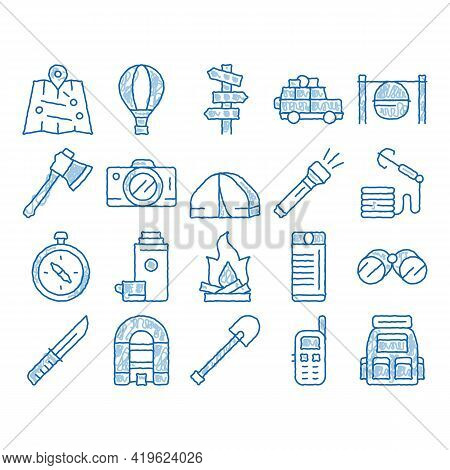 Adventure Elements Sketch Icon Vector. Hand Drawn Blue Doodle Line Art Binocular And Camera, Map And