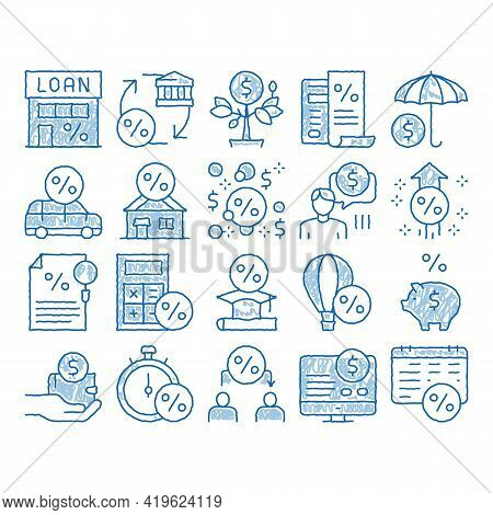 Payday Loan Elements Sketch Icon Vector. Hand Drawn Blue Doodle Line Art Payday Money For Credit Of