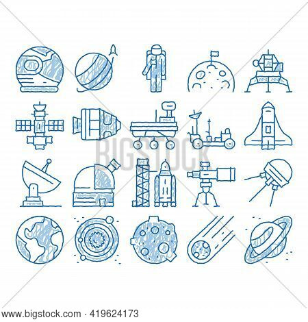 Astronaut Equipment Sketch Icon Vector. Hand Drawn Blue Doodle Line Art Astronaut Spacesuit And Helm