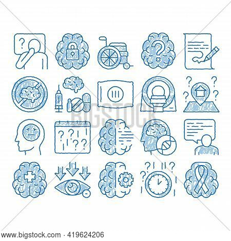 Alzheimers Disease Sketch Icon Vector. Hand Drawn Blue Doodle Line Art Brain And Drugs, Wheelchair A