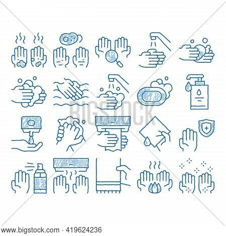 Hand Healthy Hygiene Sketch Icon Vector. Hand Drawn Blue Doodle Line Art Hand Protection, Washing Wi