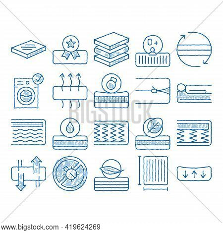 Mattress Orthopedic Sketch Icon Vector. Hand Drawn Blue Doodle Line Art Bedding Soft Mattress With M