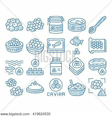 Caviar Seafood Product Sketch Icon Vector. Hand Drawn Blue Doodle Line Art Fish Eggs, Caviar In Meta