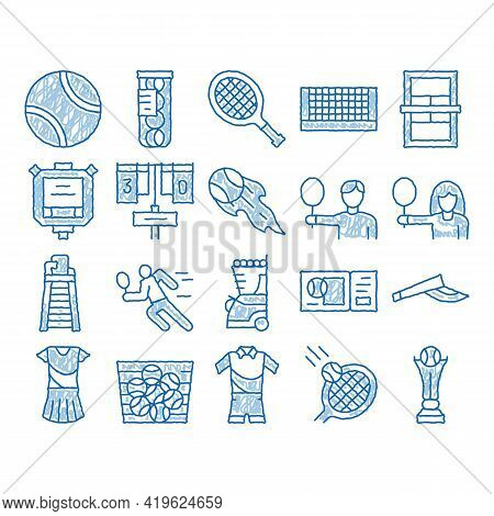 Tennis Game Equipment Sketch Icon Vector. Hand Drawn Blue Doodle Line Art Racket And Tennis Field, C