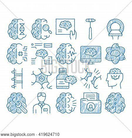 Neurology Medicine Sketch Icon Vector. Hand Drawn Blue Doodle Line Art Neurology Equipment And Neuro