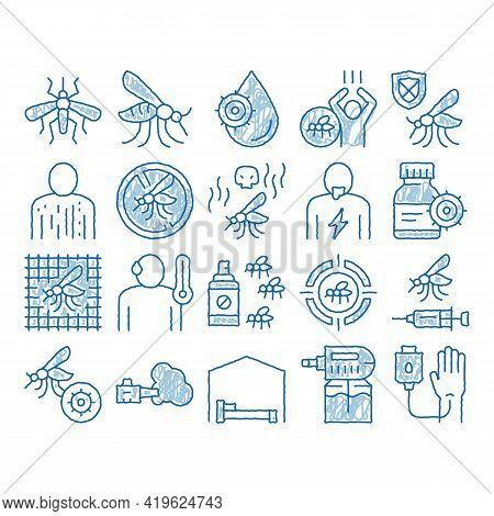Malaria Illness Dengue Sketch Icon Vector. Hand Drawn Blue Doodle Line Art Malaria Mosquito, Spray A
