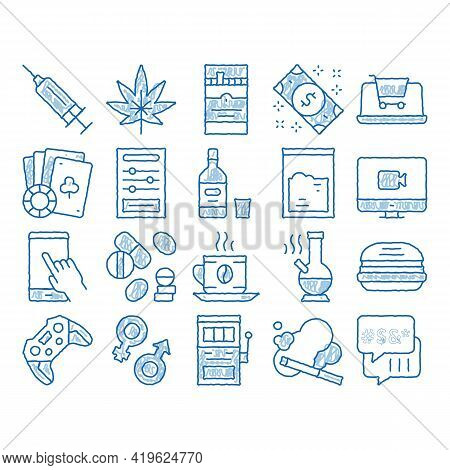 Addiction Bad Habits Sketch Icon Vector. Hand Drawn Blue Doodle Line Art Alcohol And Drug, Shopping