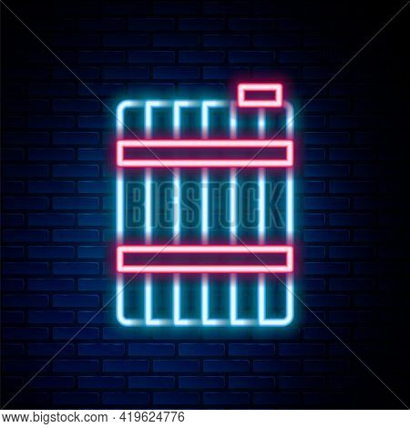 Glowing Neon Line Wooden Barrel Icon Isolated On Brick Wall Background. Alcohol Barrel, Drink Contai