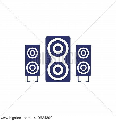 Audio Speakers On White, 2.1 Audio System Vector