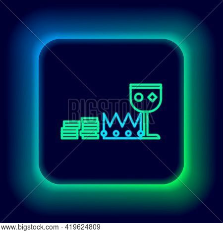 Glowing Neon Line Treasure And Riches Icon Isolated On Black Background. Treasure, Gold, Coins, Jewe