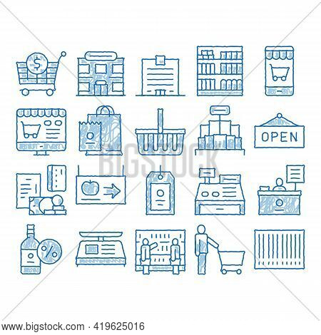 Grocery Shop Shopping Sketch Icon Vector. Hand Drawn Blue Doodle Line Art Internet Grocery Shop Or I