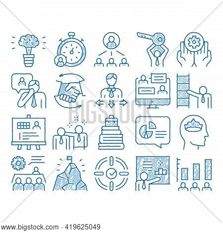 Mentor Relationship Sketch Icon Vector. Hand Drawn Blue Doodle Line Art Human Holding Key And Gear,