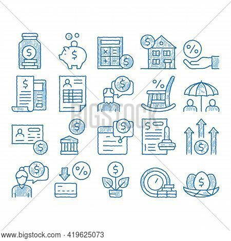 Pension Retirement Sketch Icon Vector. Hand Drawn Blue Doodle Line Art Money In Glass Bottle And Box