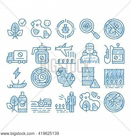 Pesticides Chemical Sketch Icon Vector. Hand Drawn Blue Doodle Line Art Pesticides For Agricultural