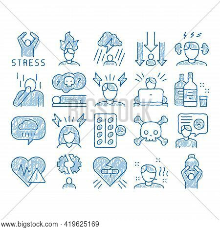 Stress And Depression Sketch Icon Vector. Hand Drawn Blue Doodle Line Art Anti Stress Pills And Alco